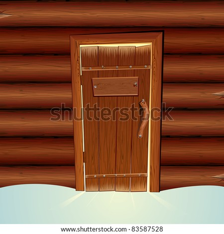 Santa Claus Wooden Hut with Closed Door and Blank Sign. Vector illustration
