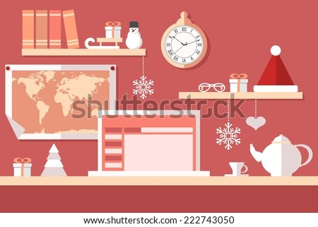 santa claus workstation on red background
