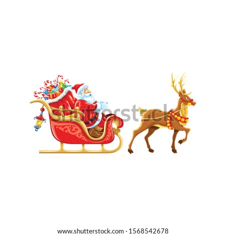 Santa Clause deers s leigh lamp in the back side presents present boxes with white background