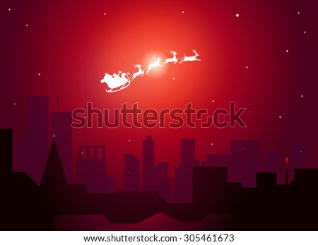 santa clause flying on city in