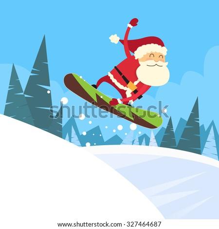 santa clause snowboarder