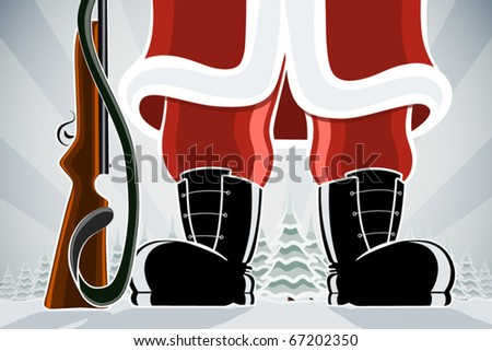 Santa Clause with gun at the forest background