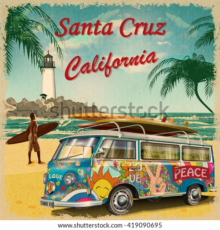 santa cruz california retro...