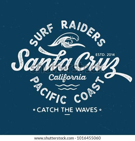 Santa Cruz Surf Raiders - Vintage Tee Design For Print