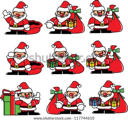 Santa emotion, happy, sad, cry, vector