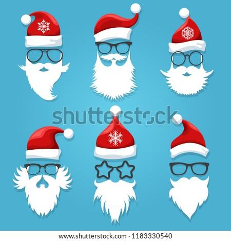 Santa face wearing. Christmas santa claus face clothes like hats, glasses and beards vector illustration