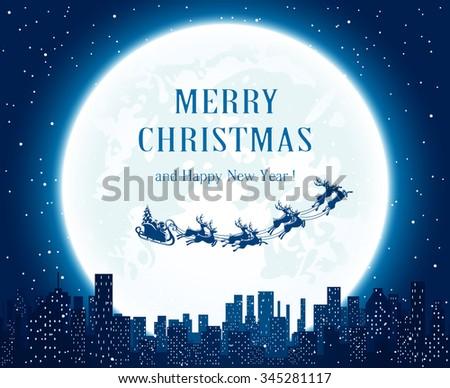 santa flies over the city on