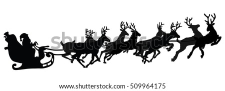 santa flying in a sleigh with