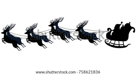 Santa flying in a sleigh with reindeer. Vector illustration. Isolated object. Black silhouette. Christmas. New Year.