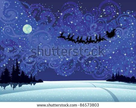 Santa flying into the winter christmas sky