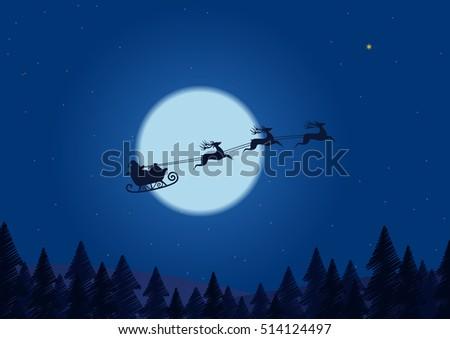 santa flying through the night