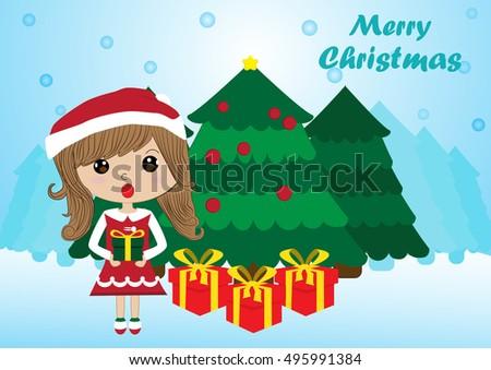 santa girl giving gift with