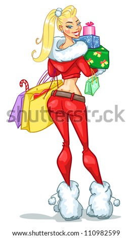 Santa girl with Christmas presents, boxes, shopping bags. Sexy Mrs. Claus isolated on white,