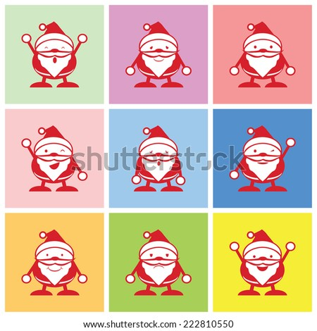Santa graphic with happy, sad and boring emotions vector