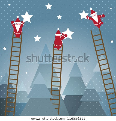Santa Hanging Stars and Christmas Woods.Vector EPS10 graphic illustration of christmas trees with santa.