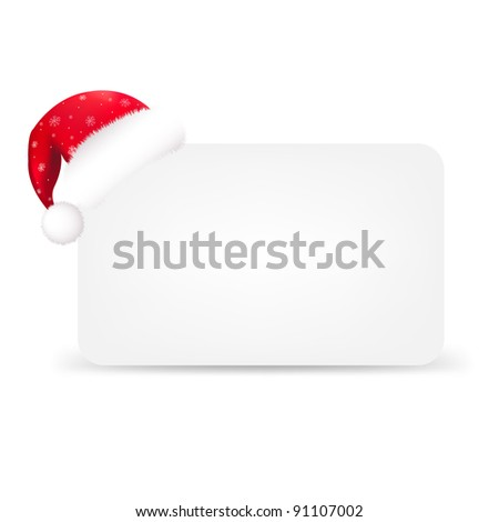 Santa Hat And Blank Gift Tag, Isolated On White Background, Vector Illustration