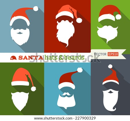 Santa hats and beards. Flat Christmas icons with long shadow. Retro design.