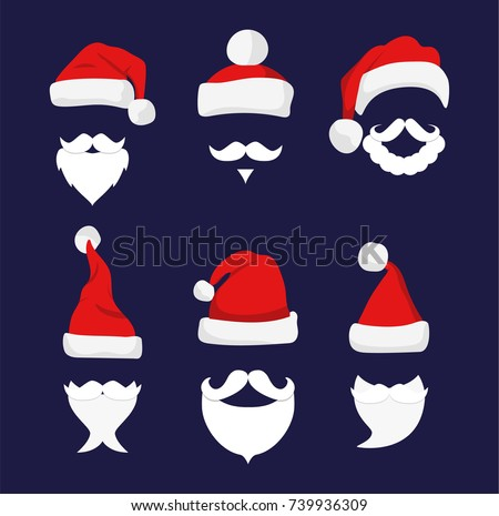 santa hats  moustache and