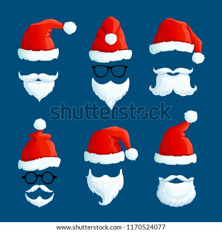 Santa hats with moustache and beards. Cartoon santa front wearing. Winter clothes isolated vector set. Illustration of claus hat red, santa christmas