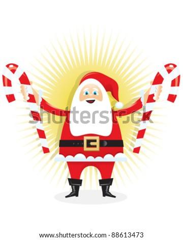 Santa Holding Candy Canes - stock vector