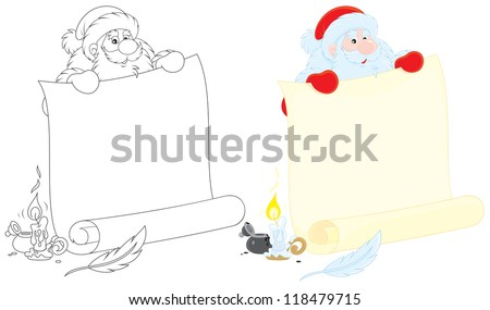 Santa holds a scroll of paper for holiday ad