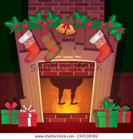 santa in christmas fireplace