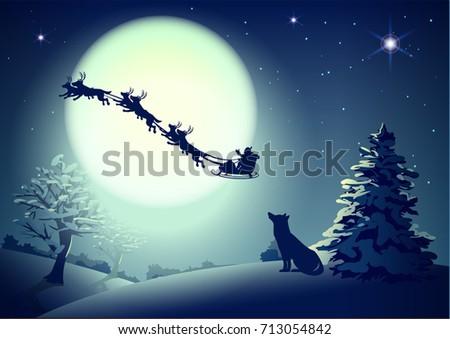 santa in night sky against