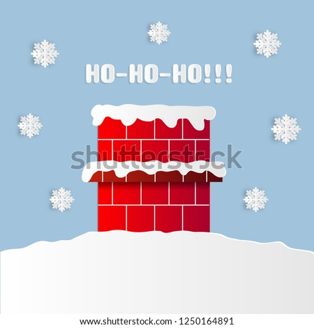 Santa in the chimney and you can hear Ho-HO-Ho. Around falling snowflakes, snow,merry Christmas, happy New Year, vector illustration, postcard, invitation, greeting on a blue background. Paper art