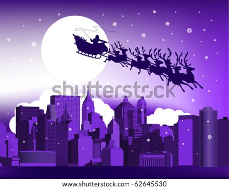 Santa in the city. All elements and textures are individual objects. Vector illustration scale to any size.
