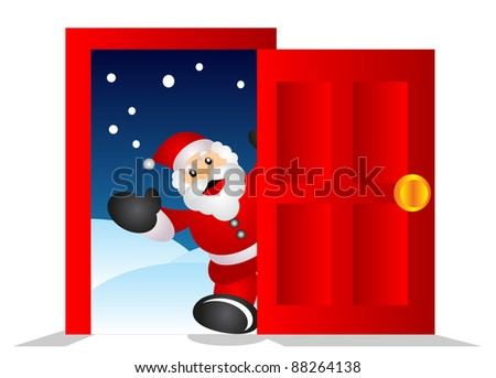 santa in the door