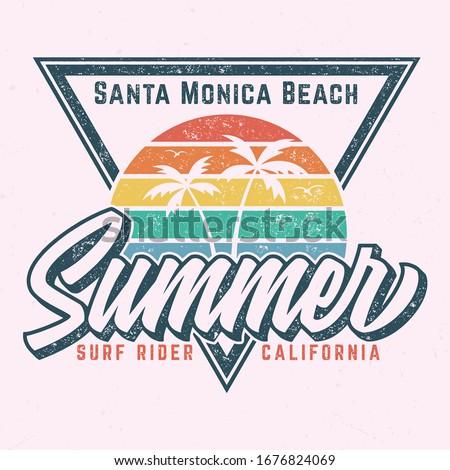 Santa Monica Beach - Aged Tee Design For Printing