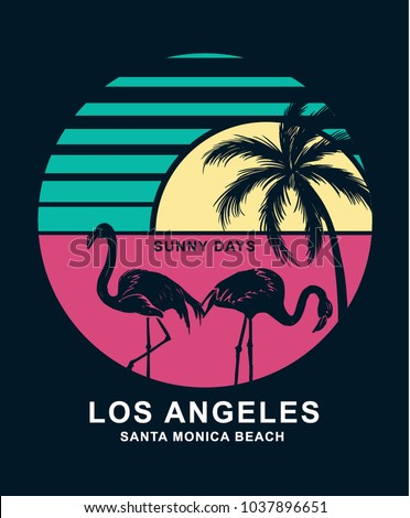 Santa Monica beach in Los Angeles text with flamingo birds and a palm tree. Vector illustration for t-shirt print and other uses.