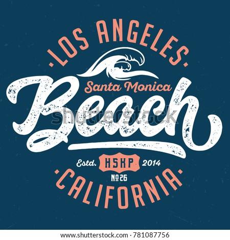 Santa Monica Beach / Los Angeles - Tee Design For Print