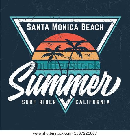 Santa Monica Beach - Vintage Tee Design For Printing