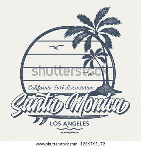 Santa Monica / Los Angeles - Aged Tee Design For Printing