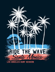 Santa Monica theme palm trees with brush textures and texts. Vector illustrations for t-shirt prints, posters and other uses.