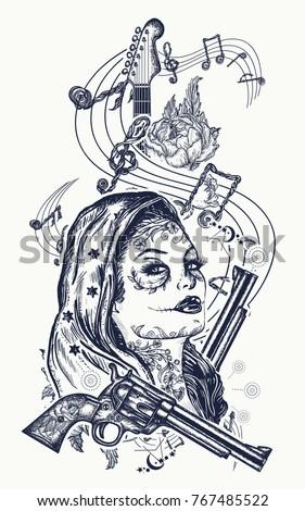santa muerte girl and electric