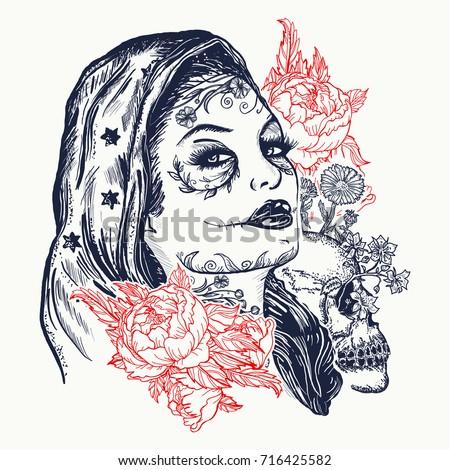 santa muerte woman tattoo