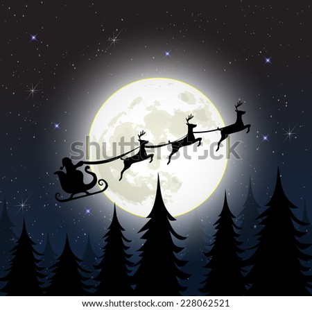 Santa on a sleigh with reindeers over the full moon vector
