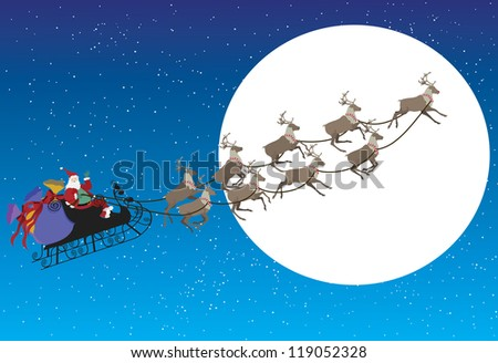 Santa on his sleigh with reindeer's with a full moon in the background as he waves./Santa Delivers Presents