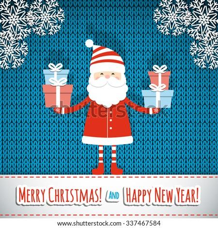 Santa on knit background. Christmas card. Vector illustration.