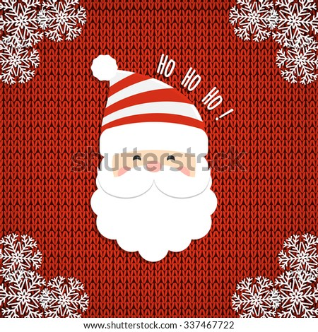 Santa on knit background. Christmas card. Vector illustration.