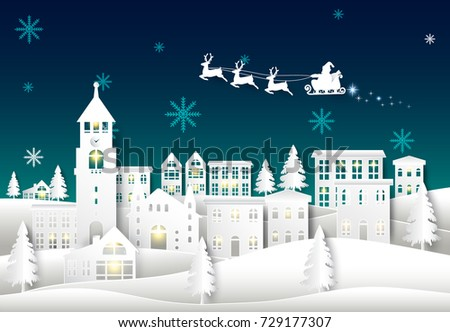 santa on night sky in city town