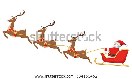santa on sleigh and his