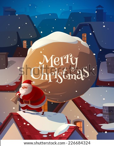 santa on the roof christmas