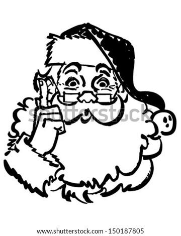 Santa Pointing Up - Retro Clip Art Illustration