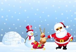 Santa,Rain Deer & Iceman in front Igloo