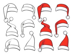 Santa red hats with white fur and ink sketch set. Isolated Christmas holiday vector decoration illustration