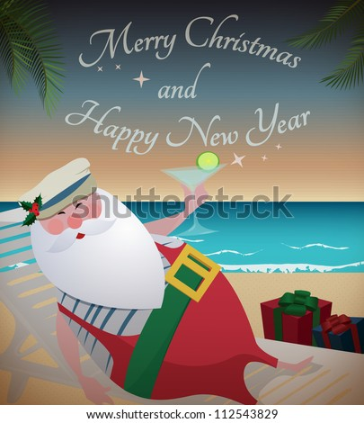 "Santa relaxing on tropic beach/Santa relaxing on tropic beach with martini,gifts and ""Merry Christmas and Happy New Year"" text"