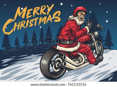 santa riding chopper thumbs up